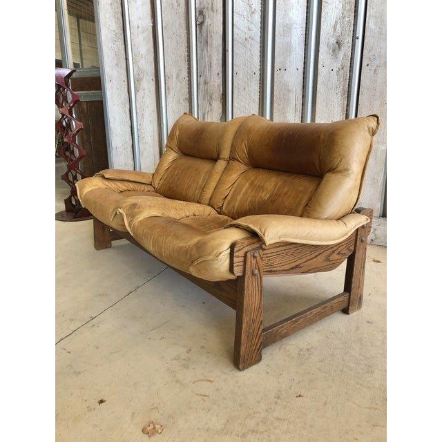 1970's Swedish Leather Loveseat For Sale - Image 10 of 10