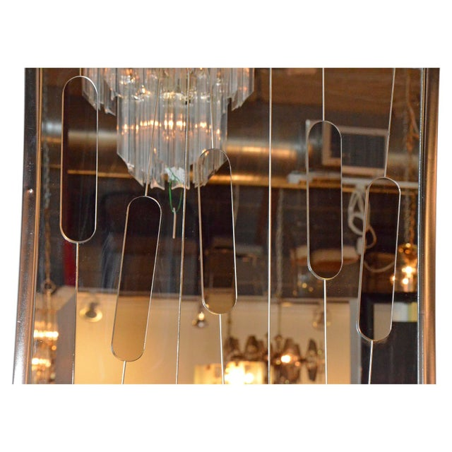 """Mid Century Modern Chrome and Cut-Glass """"Cat Tails"""" Mirror - Image 3 of 6"""