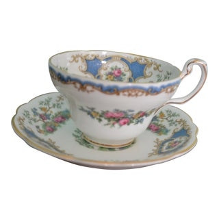 English Coalport Broadway Blue Cup & Saucer For Sale