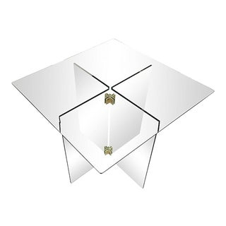 X-Base Brass & Glass Side Table