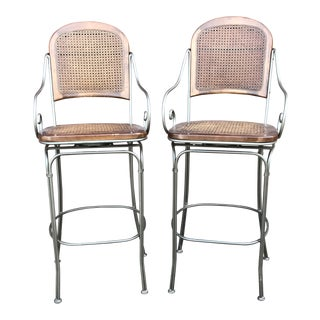 Late 20th Century Vintage Wrought Iron and Cane Back and Seat Bar Stools - A Pair For Sale