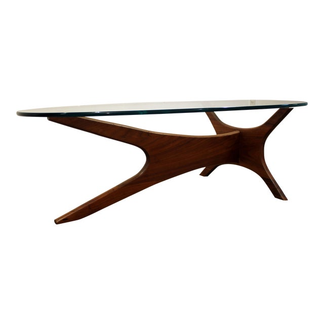 Lane Pearsall Style Mid Century Modern Coffee Table: Mid-Century Danish Modern Adrian Pearsall Walnut Glass Top