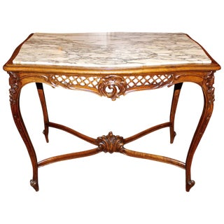French Louis XV Style Marble-Top Library Table
