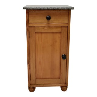 20th Century Traditional Pine Marble Top Nightstand For Sale
