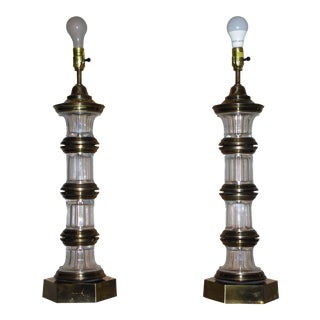 Vintage Hollywood Regency Chapman Banded Brass & Crystal Glass Table Lamps - a Pair For Sale