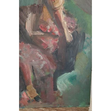 Green Mid Century 1957 Painting - Two Paintings in One - Reclining Nude, Man's Portrait For Sale - Image 8 of 8