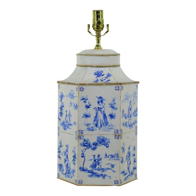Metal Vintage English Hand-Painted Blue and White in Delf Figures Tea Caddy Table Lamp For Sale - Image 7 of 7