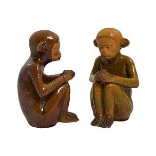Handmade Pottery Monkeys - a Pair