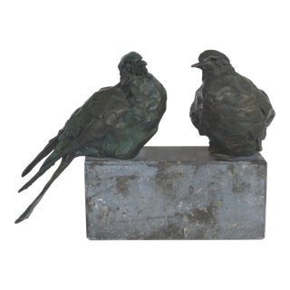 Bronze Animalier Sculpture of Two Birds Resting on a Stone Base