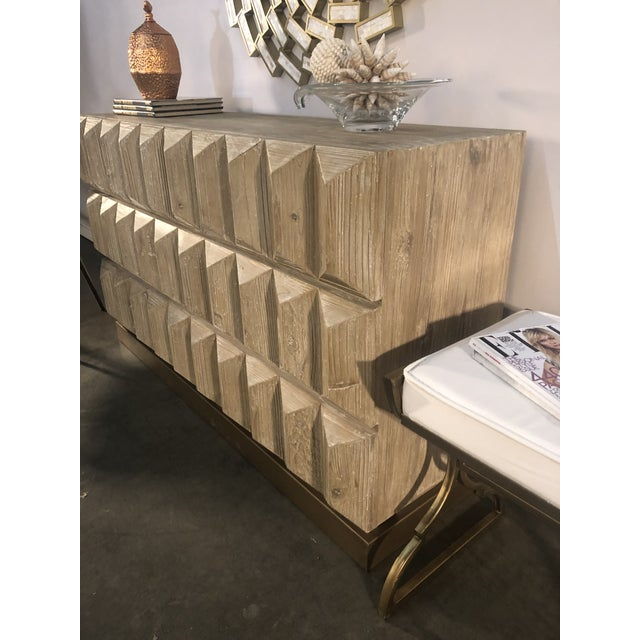 Gold Lorenzo Elm Wood Console With Drawers For Sale - Image 8 of 8