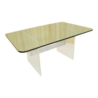 Mid-Century Modern Thick Glass-Top and Lucite Base Conference Table For Sale