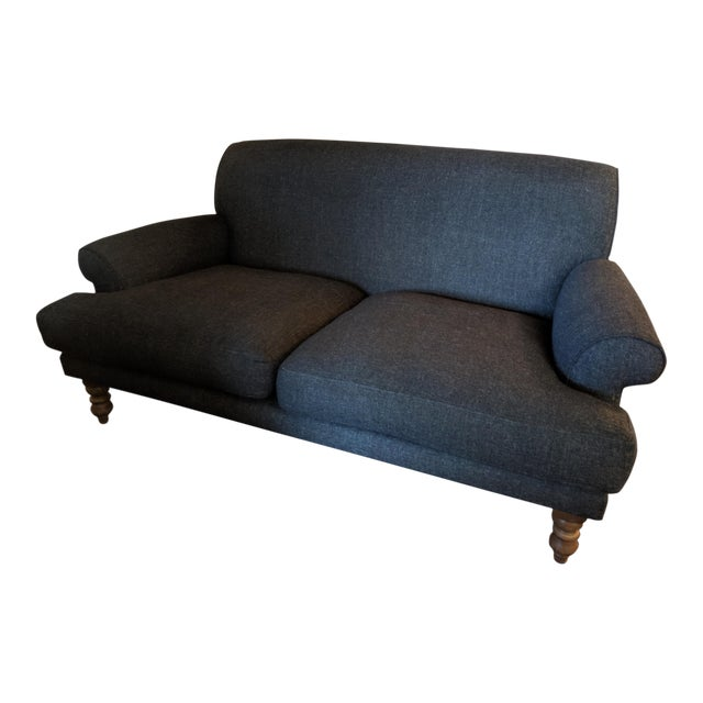 Traditional Charcoal Highland Tweed Sofa For Sale