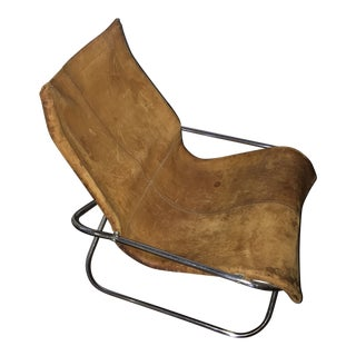 1970s Tan Leather Butterfly Chair