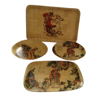 Vintage Chinese Bamboo Plates and Trays - Set of 4 For Sale