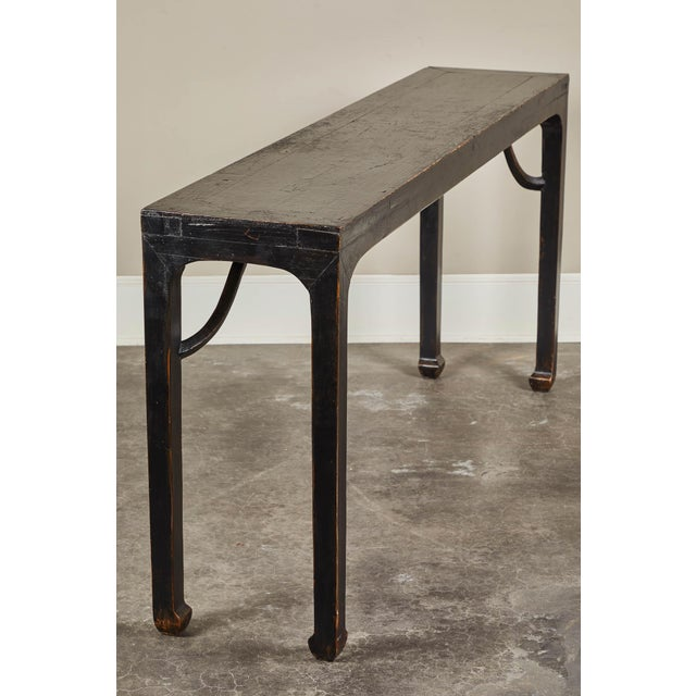 Asian 18th C. Ming Black Crackled Lacquer Console Table For Sale - Image 3 of 10
