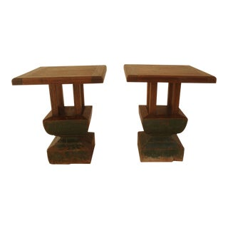 Rough Hewn Oak Square Side Tables - a Pair