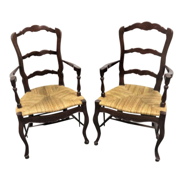 County French Mahogany Rush Seat Arm Chairs- a Pair For Sale