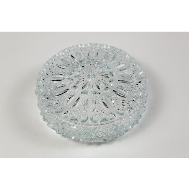 White Mid Century Vintage Floral Hatch Limburg Glass Flush Mount (2 Available) For Sale - Image 8 of 10