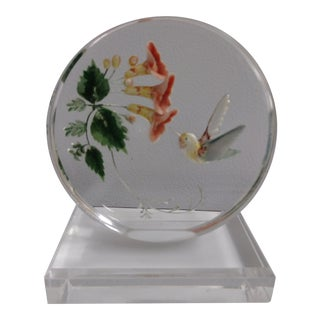 Carved Hummingbird and Honeysuckle Vine Lucite Paperweight or Sculpture For Sale