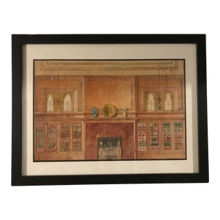 Early 20th Century Antique Interior Rendering Watercolor Painting For Sale