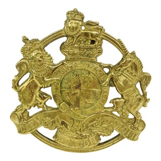 English Royal Coat of Arms Brass Trivet