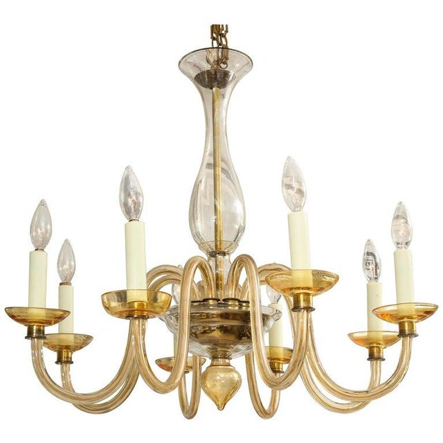 Orange Amber Eight-Arm Murano Glass Chandelier For Sale - Image 8 of 8