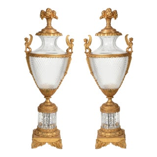 Mid-19th Century Large Bronze Cut Glass Urns - a Pair For Sale