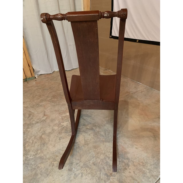 Antique Carved Scrolled Splat Back Solid Wood Brown Painted Children's Rocking Chair For Sale - Image 12 of 13