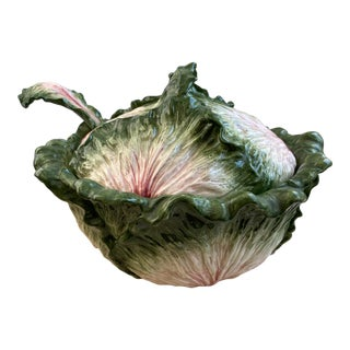 Vintage Fitz and Floyd Cabbage Leaf Covered Soup Tureen With Ladle For Sale