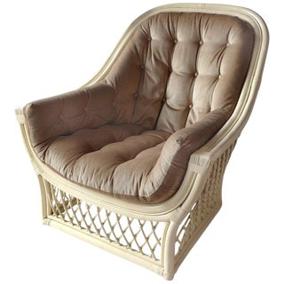 1970s Henry Olko Style Sculpture Rattan Lounge Chair For Sale