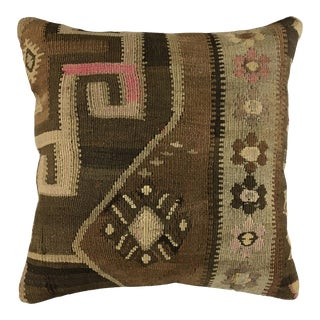 "Brown Boho Vintage Kilim Pillow | 20"" For Sale"