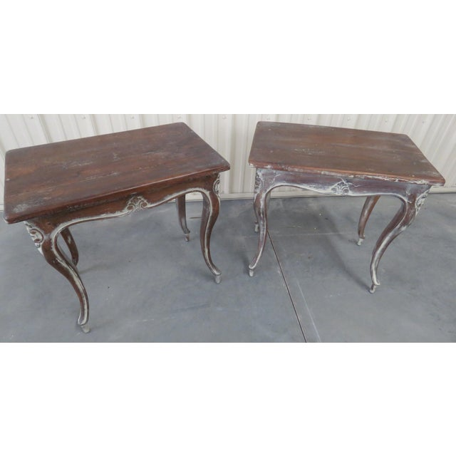 Brown Early 20th Century Louis XV Style End Tables - a Pair For Sale - Image 8 of 9