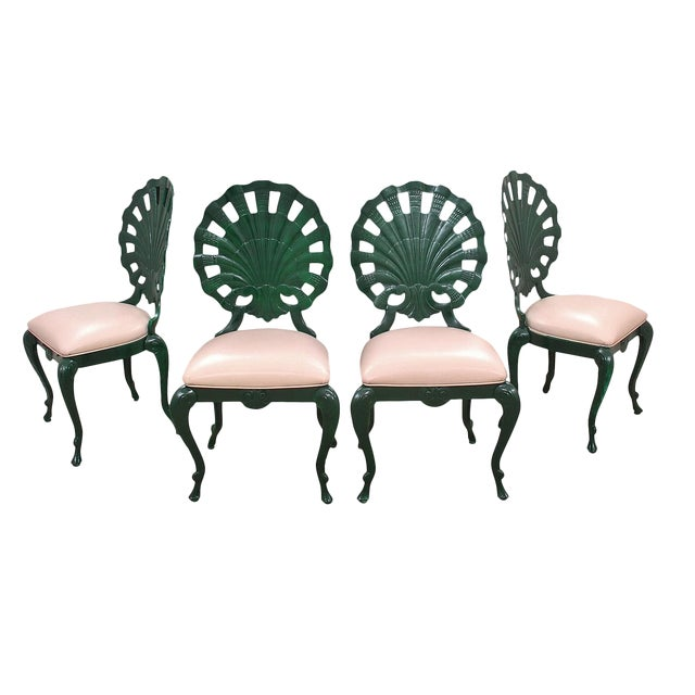 """1950s Vintage Venman Furniture Aluminum """"Grotto"""" Shell Chairs - a Set of 4 For Sale"""