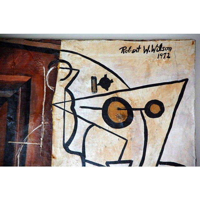 Cubist Mixed Media Oil Painting by Robert Wilson For Sale - Image 4 of 5