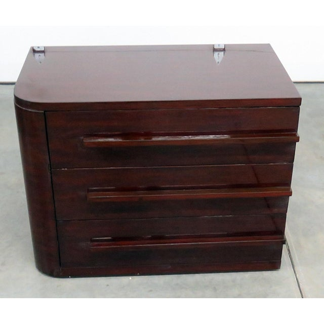 Ralph Lauren contemporary wood left side 3 drawer nightstand. Late 20th Century.
