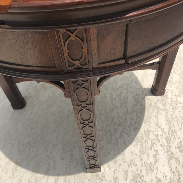 1950s Arts and Crafts Baker Furniture Round Chippendale Style Side Table For Sale - Image 11 of 13