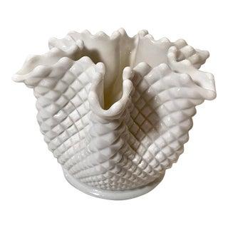 Vintage Handkerchief Milk Glass Vase For Sale
