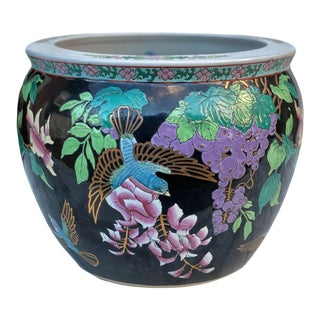 Vintage Chinese Porcelain Black Floral Sparrow Bird Jardiniere Planter For Sale