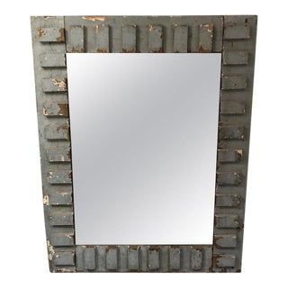 Rustic Grey Blue Painted Reclaimed Wood Mirror