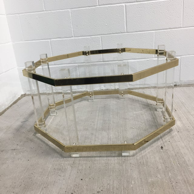 Mid-Century Modern Vintage Mid-Century Lucite Brass Octagonal Coffee Table Base For Sale - Image 3 of 9