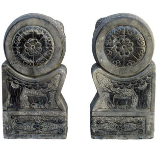 Pair Chinese Antique Lotus Hand Carving Drum Statue awk2543