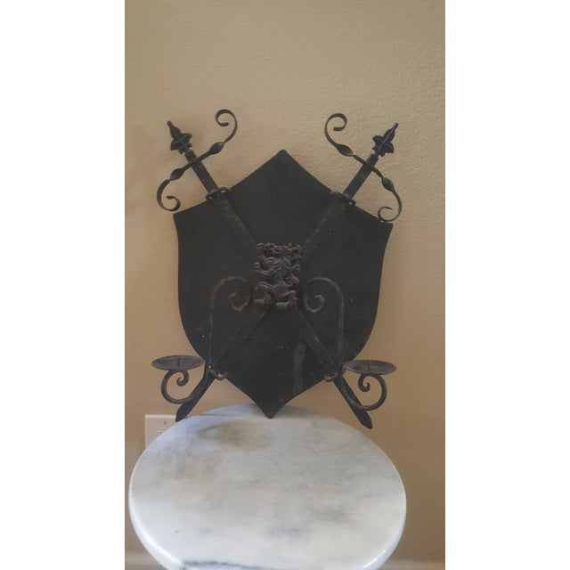 1950s Mid-Century Cast Iron Coat of Arms Wall Hanging For Sale - Image 5 of 5