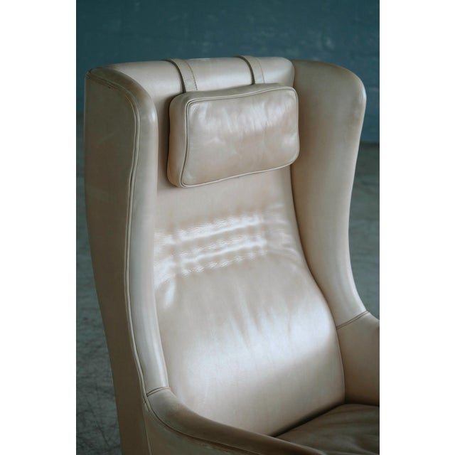 Arne Norell Midcentury Scandinavian Arne Norell High Back Lounge Chair in Worn Tan Leather For Sale - Image 4 of 10