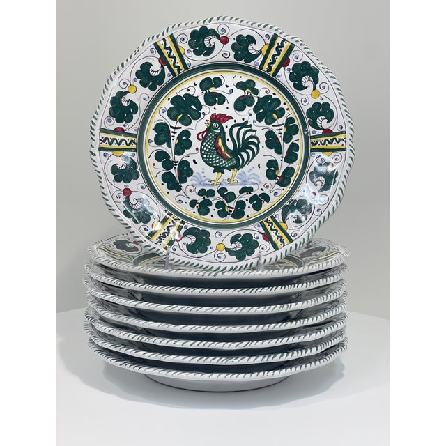 DESRIPTION This set of 8, green leaf pattern is featured on the Dinner Plate - Full Design,Artisan Story Orvieto Green...