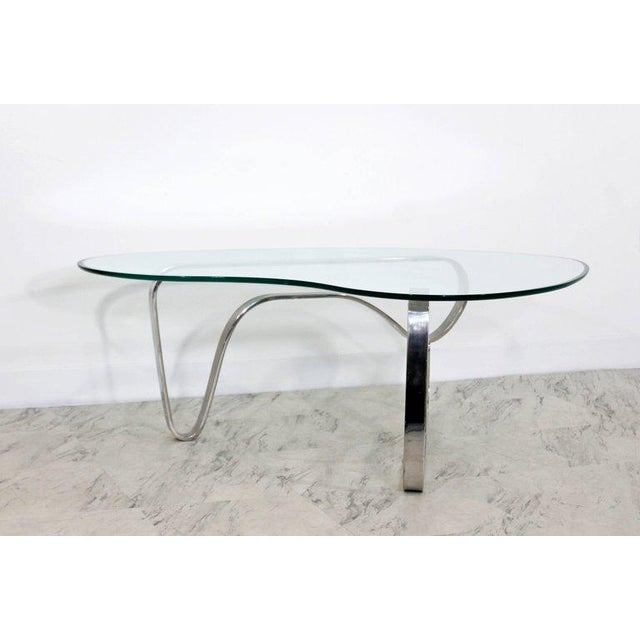 Chrome Mid-Century Modern Sculptural Chrome Kidney Glass Coffee Table Pace Era, 1970s For Sale - Image 7 of 10