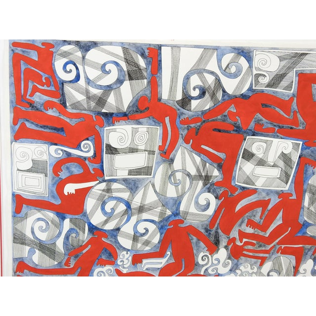 Abstract Wind & Red Figures Painting by Benicio Nunez For Sale - Image 4 of 5
