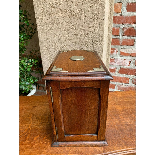 Antique English Tiger Oak Pipe Smoke Cabinet Card Game Box Humidor Lift Top For Sale - Image 10 of 13