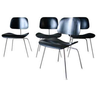 Ebonized Eames Dcm Chairs - set of 4 For Sale