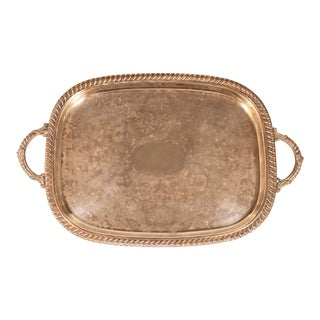 1980s English Silver Plate Footed Serving Tray With Handles For Sale