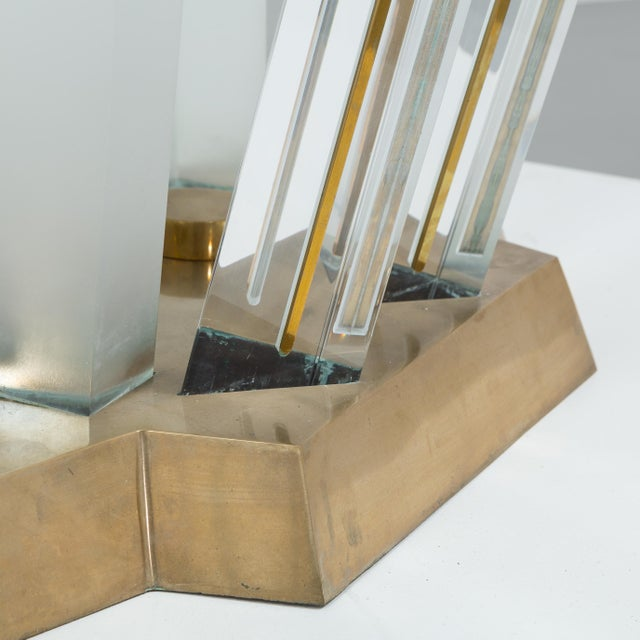 A Superb Lucite and Bronze Dining Table with Unique Glass Top - Image 8 of 11